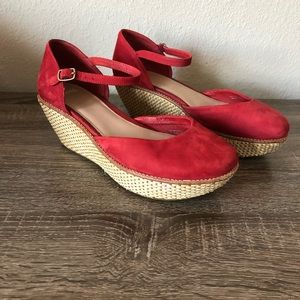 CAMPER Red Suede Wedge Mary Jane Shoes 39